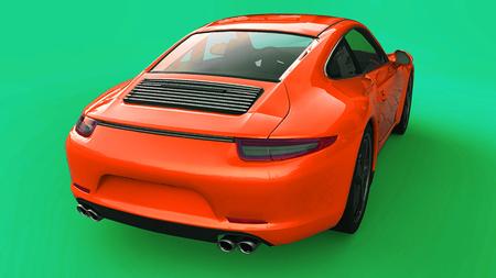 Orange Porsche 911 three-dimensional raster illustration on a green background. 3d rendering.