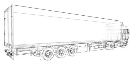 Large truck with a semitrailer. Template for placing graphics. 3d rendering