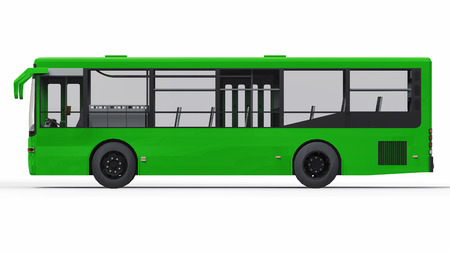Small urban green bus on a white background. 3d rendering Imagens