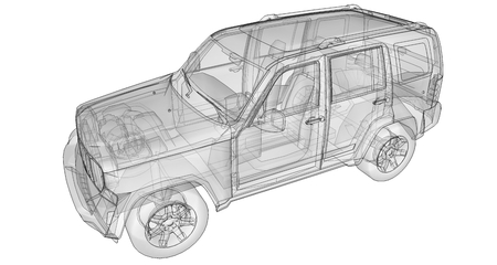 Transparent SUV with simple straight lines of the body. 3d rendering