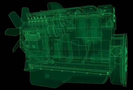 a big diesel engine with the truck depicted in the contour lines