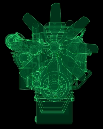 A big diesel engine with the truck depicted in the contour lines on graph paper. The contours of the green line on the black background