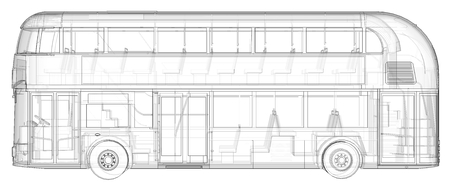 A double-decker bus, a translucent casing under which many interior elements and internal bus parts are visible. Left view. 3d rendering 스톡 콘텐츠