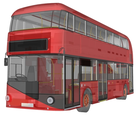 A double-decker bus, a translucent casing under which many interior elements and internal bus parts are visible. 3d rendering
