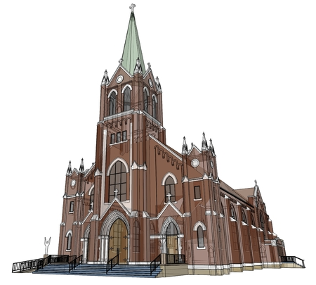 The building of the Catholic church, views from different sides. Three-dimensional illustration on a white background. 3d rendering