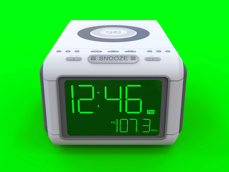 Radio clock-alarm clock on an green background. 3d rendering Stock Photo