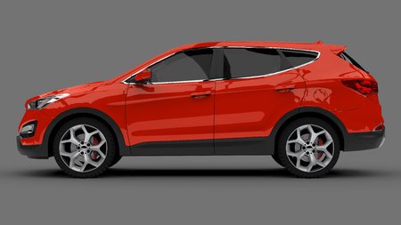 Compact city crossover red color on a gray background. 3d rendering