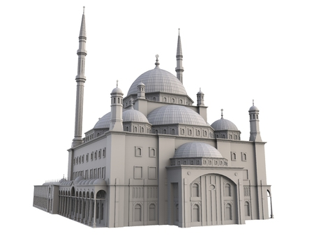 A large Muslim mosque, a three-dimensional raster illustration with contour lines highlighting the details of construction. 3d rendering
