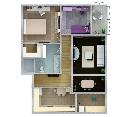 Floor Plan Of The Apartment Or House. 3d Renderig Photo