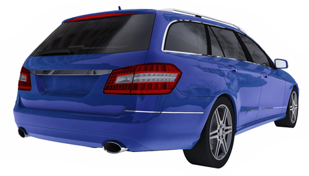 Large blue family business car with a sporty and at the same time comfortable handling. 3d rendering 版權商用圖片