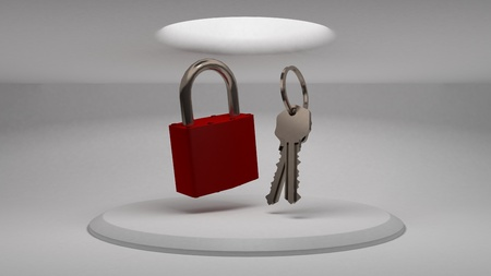 3d keys and padlock on the background of the stand to demonstrate the design. Diffused light from above. 3d rendering