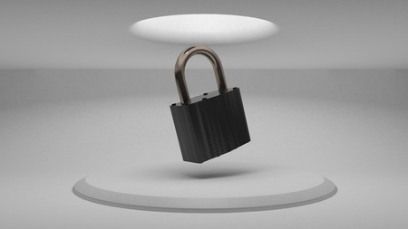 3d padlock on the background of the stand to demonstrate the design. Diffused light from above. 3d rendering Imagens