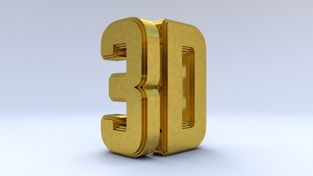 illustration Large three-dimensional on a white isolated matte background. Shiny gold paint. 3d rendering
