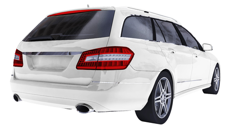 Large white family business car with a sporty and at the same time comfortable handling. 3d rendering