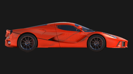 Sports car. The image of a sports red car on a black background. 3d illustration Standard-Bild