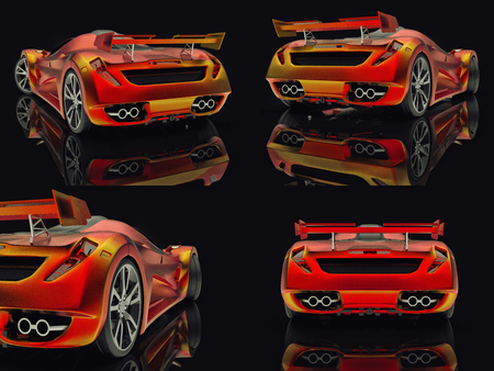 Set racing concept car. Image of a car on a black glossy background. 3d rendering