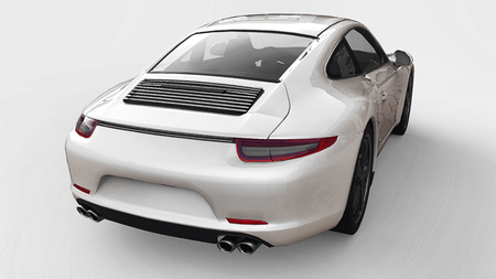 White Porsche 911 three-dimensional raster illustration on a white background. 3d rendering.