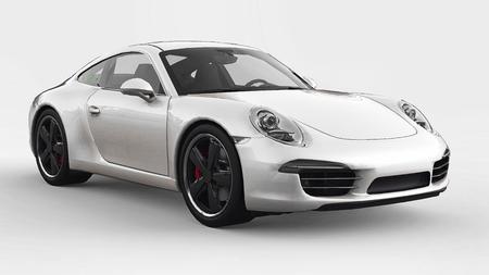 White Porsche 911 three-dimensional raster illustration on a white background. 3d rendering.