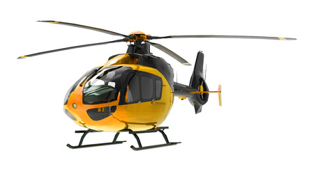 Yellow helicopter isolated on the white background. 3d illustration