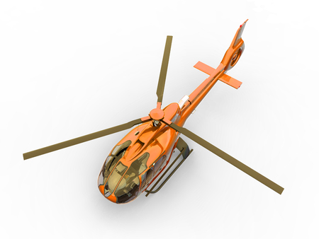 Orange civilian helicopter on a white uniform background. 3d illustration