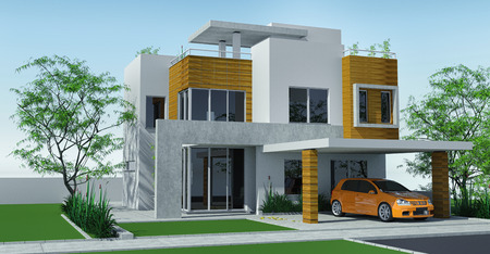 Modern house with carport lawn with mini garden. 3d rendering