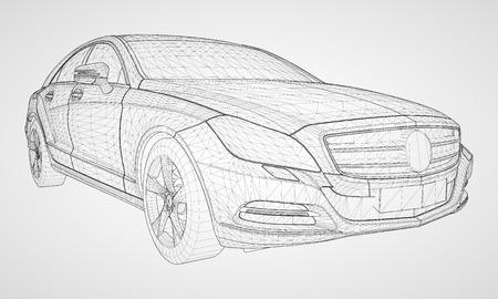 Das Modell trägt eine Premium-Limousinen-Vektorillustration in Form eines schwarzen polygonalen Dreiecksgitters auf grauem Hintergrund. Vektorgrafik