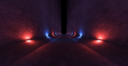 Empty space with concrete walls and lamps on the walls spreading soft diffused red and blue light up and down. 3d rendering