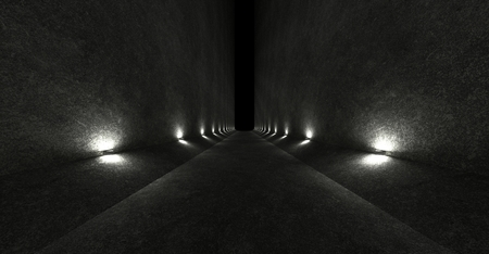 Empty space with concrete walls and lamps on the walls spreading soft diffused light up and down. 3d rendering