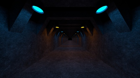 Empty space with concrete walls and lamps on the walls spreading soft diffused light. 3d rendering Imagens