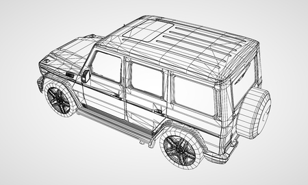 Model of premium frame SUV with a classic design. Vector illustration of a black polygon triangular grid on a gray background