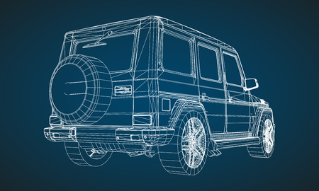 Model of premium frame SUV with a classic design. Vector illustration of a white polygonal triangular grid on a blue background