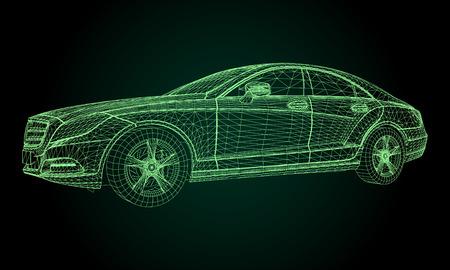 The model sports a premium sedan. Vector illustration in the form of a green polygonal triangular grid on a black background Vektoros illusztráció