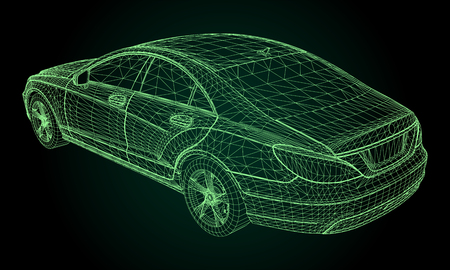 The model sports a premium sedan. Vector illustration in the form of a green polygonal triangular grid on a black background