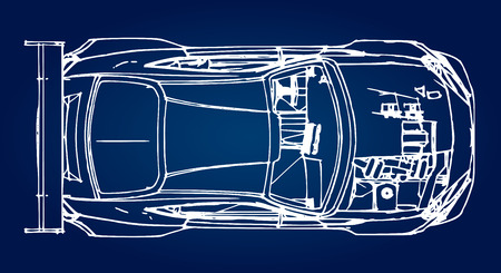 Sports car. Stock Illustration in the style of hand-drawn linear graphics