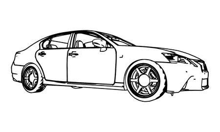 Vector drawing car made in black contour lines on a white background Illustration