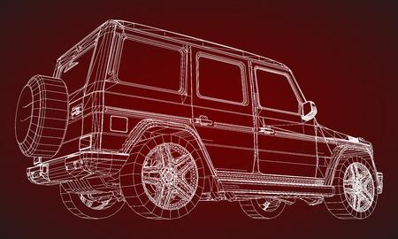 Modell eines Premium-Rahmen-SUV mit klassischem Design. Vektorillustration eines weißen polygonalen Dreiecksgitters auf einem roten Hintergrund Vektorgrafik