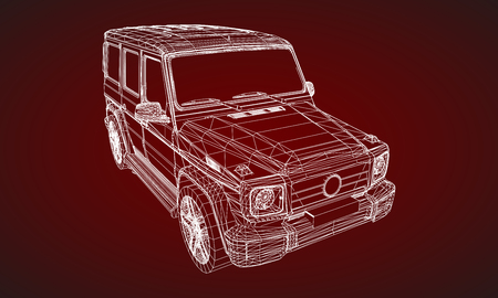Model of premium frame SUV with a classic design. Vector illustration of a white polygonal triangular grid on a red background