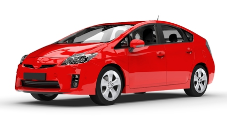 Modern family hybrid car red on a white background with a shadow on the ground. 3d rendering