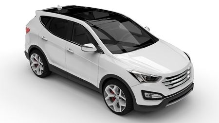 White premium city crossover on a white background. 3d rendering