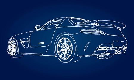 Skizze eines modernen Sportwagens auf einem blauen Hintergrund mit einem Gefälle