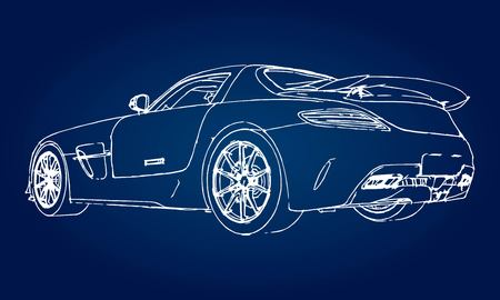 Sketch of a modern sports car on a blue background with a gradient