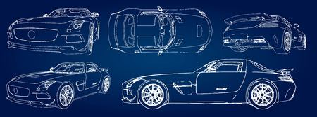 Set sketch of a modern sports car on a blue background with a gradient