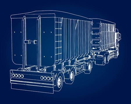 Large truck with separate trailer, for transportation of agricultural and building bulk materials and products Stock Illustratie
