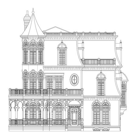 Oud huis in Victoriaanse stijl. Illustratie op een witte achtergrond. Zwart-wit afbeelding in contourlijnen. Soorten van verschillende kanten Vector Illustratie