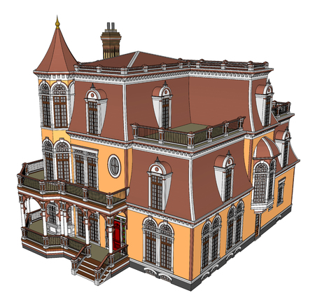 Old house in Victorian style. Illustration on white background. Species from different sides Stock Illustratie