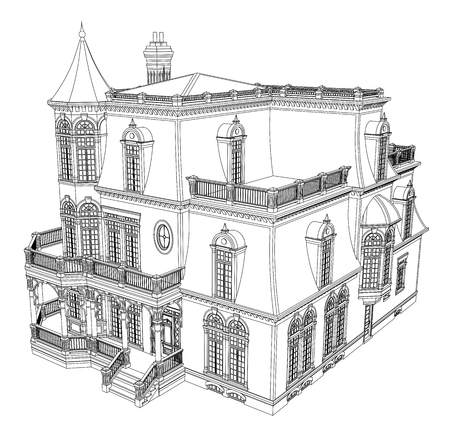 Casa antigua de estilo victoriano. Ilustración sobre fondo blanco. Ilustración en blanco y negro en curvas de nivel. Especies de diferentes lados