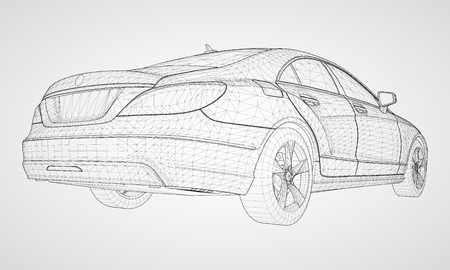 The model sports a premium sedan. Vector illustration in the form of a black polygonal triangular grid on a gray background Illustration