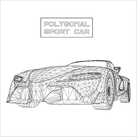 Abstract Creative concept vector background of 3d car model. Sports car Vettoriali