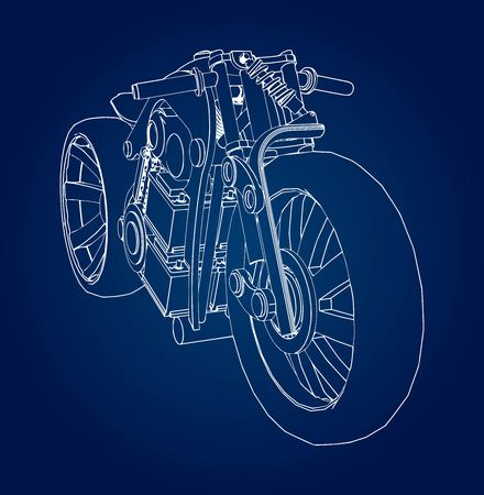 The concept of the electric motorcycle of the future. Vector illustration in contour lines