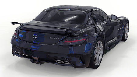 Mercedes-Benz SLS black. Three-dimensional raster illustration. Isolated car on white background. 3d rendering. Editorial